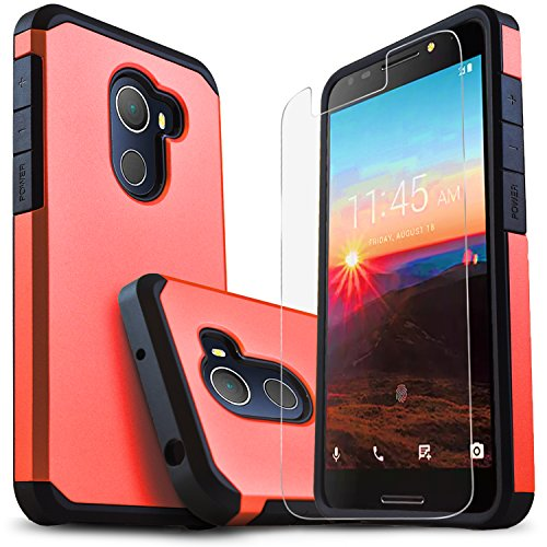 Alcatel T-Mobile REVVL Case, Alcatel A30 Plus Case, Alcatel A30 Fierce Case, Alcatel Walter Case, Starshop [Shock Absorption] Dual Layers Protective Phone Cover with [HD Screen Protector] (Red)