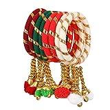 Sukriti Indian Party Wedding wear Multi color Pom-Pom Thread Bangle Combo for Girls & Women - Set of 8 | Size: 2.8