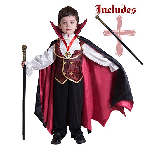Little Boy Vampire Costume (Gothic Vampire Costume Deluxe Set for Boys, Kids Halloween Party Favors, Dress Up,Role Play and Cosplay (Small))