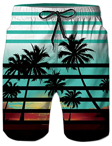 Mens Big & Tall Swim Trunks White Striped Tropical Hawaiian Coconut Tree Beachwear Surfing Board Shorts Bathing Suits for Men Male Boy Quick Dry Swim Shorts with Mesh Lining,Small,Hawaiian Palm Tree -