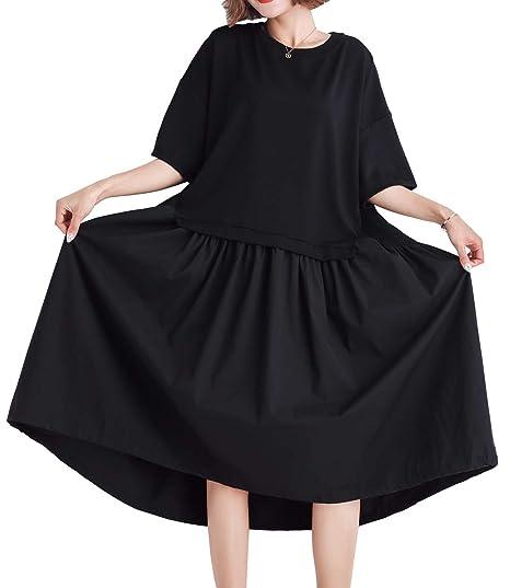 ELLAZHU El veran Negra Falda Plisada Vestido Mujer GA1404: Amazon ...