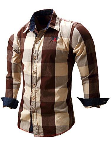 Neleus Men's Long Sleeve Button Down Plaid Shirts,112,Coffee,L,Tag XL
