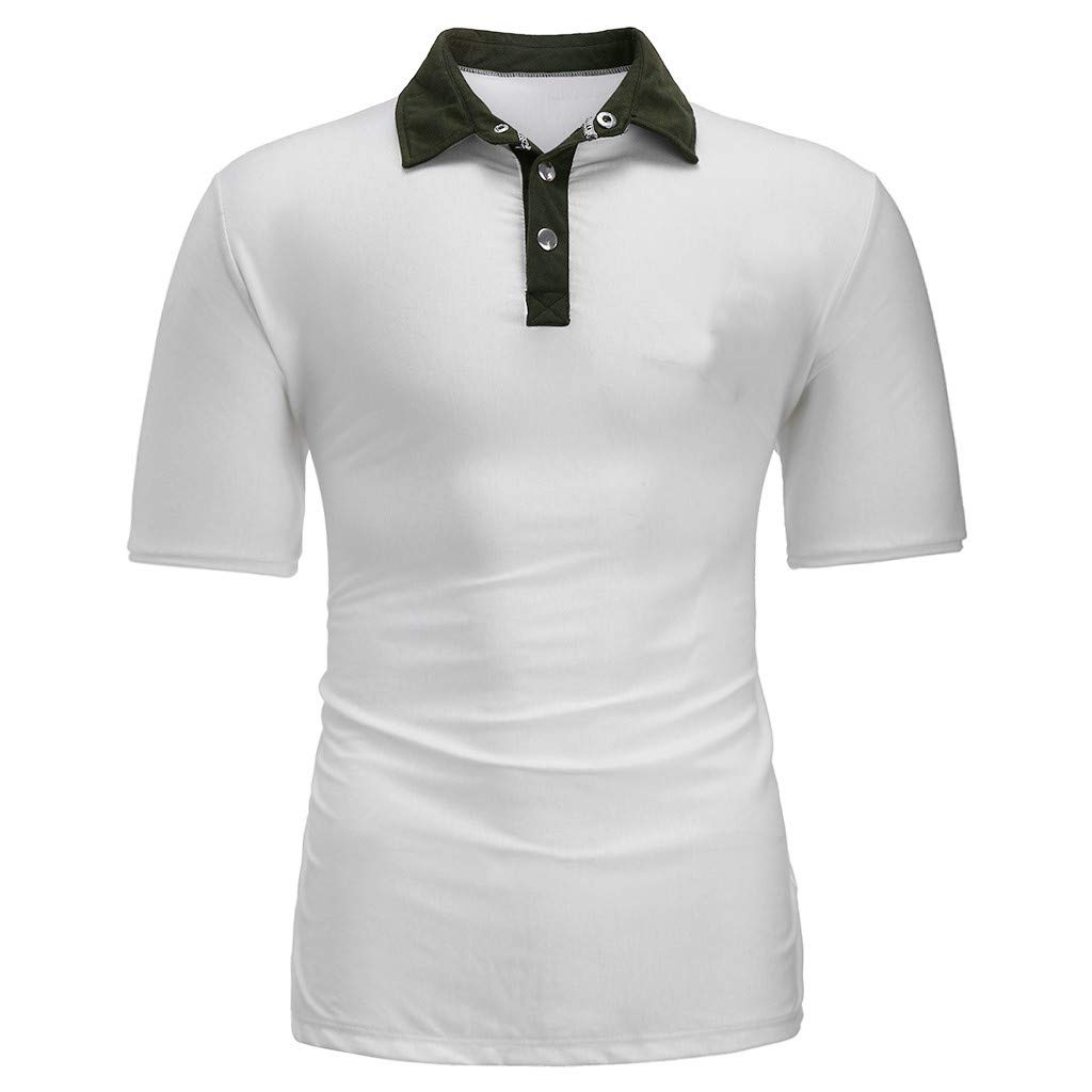 Morecome Mens Summer New Pure Color Short Sleeves Fashion Casual Lapel T-Shirt Top Tee