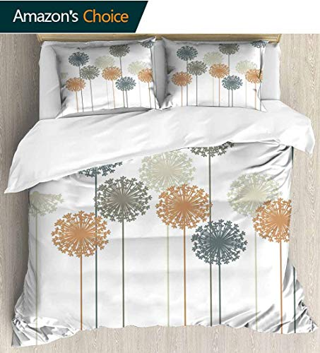 (Dandelion Home Duvet Cover Set,Abstract Wildflower Silhouettes Botanical Inspirations Meadow in Summer Season Print Quilt Cover Set White Queen Pattern Bedding Collection 90