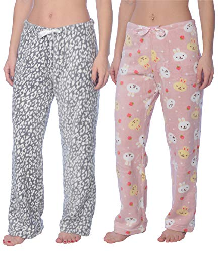 Active Club Fleece Lounge Plaid Pajama Pants for Women - Adjustable Waistband - 2 Pack (X-Large, 2 Pack Pink Rabbit/Leopard Grey)