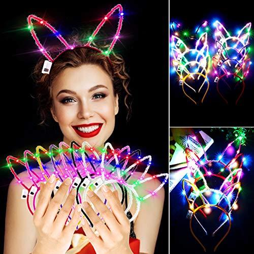 LED Rabbit Ears Headband, Aniwon 10PCS Light Up Bunny Ears Flashing Headbands Cute Hair Hoop for Kids Girls Adult Halloween Christmas Party Decorations Hair Accessories