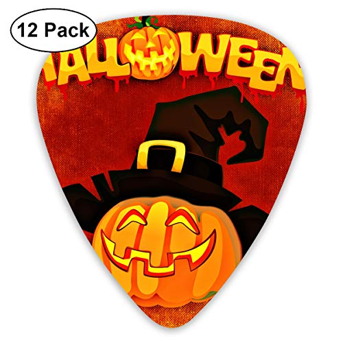 Cute Halloween Cartoon Witch Hat Pumpkin Bendy Ultra Thin 0.46 Med 0.73 Thick 0.96mm 4 Pieces Each Base Prime Plastic Jazz Mandolin Bass Ukelele Guitar Pick Plectrum Display