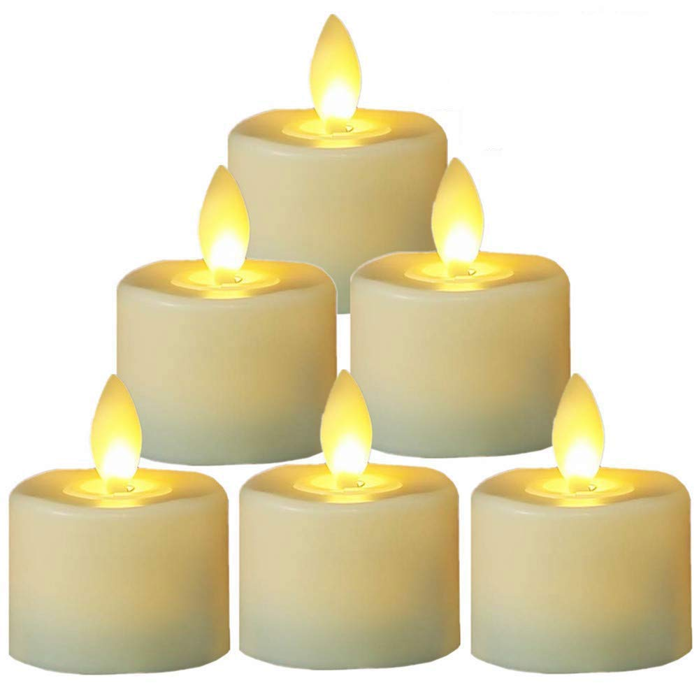 Flameless Tea Lights Candles,Led Battery Operated Flicking Tealights Bluk in Warm White for Wedding,Christmas and Birthday Party-6 Pack