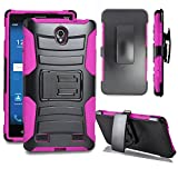 ZTE Zmax 2 Case, Allmet [Black+Pink] Premium Durable Heavy Duty Rugged Impact Hybrid Armor Holster Belt Clip Stand Combo Case Cover for ZTE Zmax 2 Z958