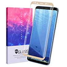 Samsung Galaxy S 8 Plus Glass,Hecheng 3D Curved Surface Full Coverage Tempered Glass 9H Film Premium Explosion-proof Screen Protector for Samsung Galaxy S 8 plus G955 (Gold)