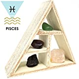 PISCES Zodiac Crystal Healing Set / Tumbled Stones and Wooden Geometric triangle shelf in Gift Box / Astrology Sign Pisces Birth Stones