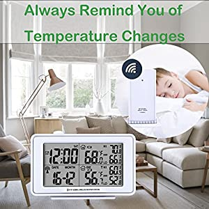 eMerit Bedside Desk Travel Electronic Digital Alarm Clock in White, LCD Large Display, w/Indoor & Outdoor Temperature Wireless Sensor, Date, Week, Night Light, Battery Operated, Model AT2649