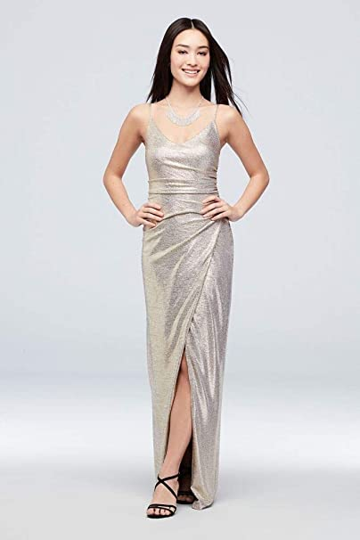 aff76beebd David's Bridal Ruched Metallic Knit Sheath Dress with Slit Style A21930,  Gold, ...