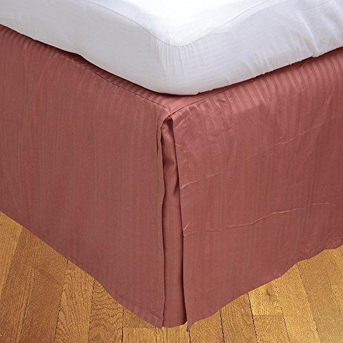 LaxLinens 600 fils cm²-Finition élégante 1 jupe plissée chute de lit Longueur    15 cm King Taille Rouge brique 100%  coton