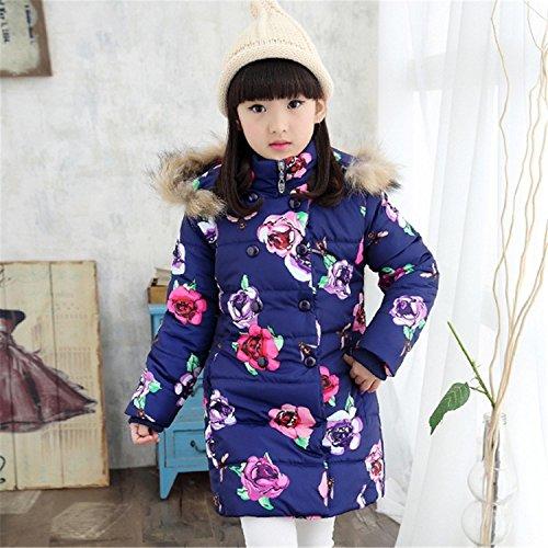 Newmarket Jacket (Girls Parka Winter Coat Fur Coat Plus Thick Velvet Floral Padded-Cotton Fur Collar Hooded Long Jacket Children Navy 10)