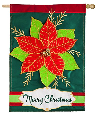 Evergreen Christmas Poinsettia Applique House Flag, 28 x 44 inches
