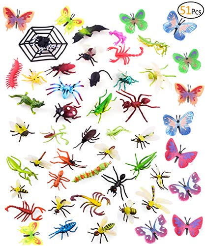 Onene 51 Pieces Plastic Insect Fighure Toys, Assorted Bug Toy Figures for Kids Playtime, Children Education, Insect Themed Party, Cupcake Toppers ()
