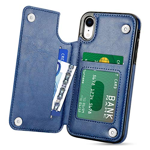 HianDier Wallet Case for iPhone XR, Faux PU Leather Flip Case with Credit Card Slot Cash Holder Pocket Soft Magnetic Closure Protective Cover Case Compatible with iPhone XR 6.1 inches (2018), Blue