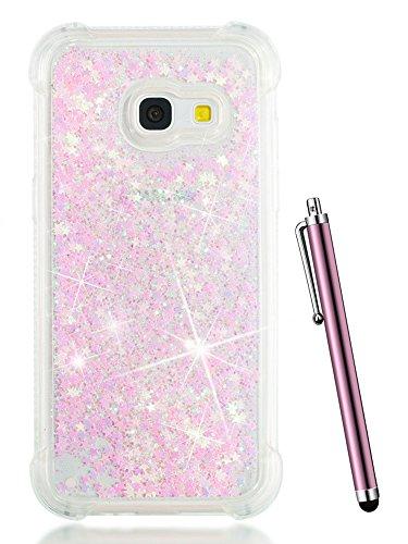 Galaxy J7 2017 Case Glitter,J7 Sky Pro Case,Samsung Galaxy Perx Phone Case,J7 Prime Case,Galaxy J7 V Case,CAIYUNL Bling Liquid Luxury Clear Cute Design Slim TPU Women Girls Kids Cover&Stylus-Baby Pink -