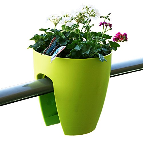 Greenbo Deck Rail Planter Box with Drainage trays, round 12-Inch, Color Apple green