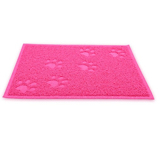 wangstar Pet Cat Litter Mat, Litter Trapper Mat, Food Mat, Kitty Litter Catcher with Scatter Control Easy to Hoover and Wipe (Rose red)