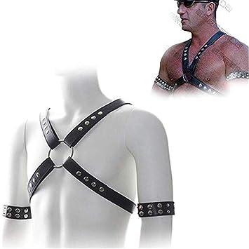Faux Leather Halter Body Arnés de pecho con un par de brazaletes ...