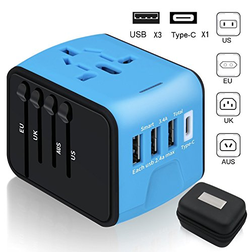 Travel Adapter,6Feeki International Power Adapter All-in-one USB Travel Adapter Universal adapter with 3-port USB Charger AC Wall Outlet Plugs For business travel of US, EU, UK, AU,150countries (Blue)
