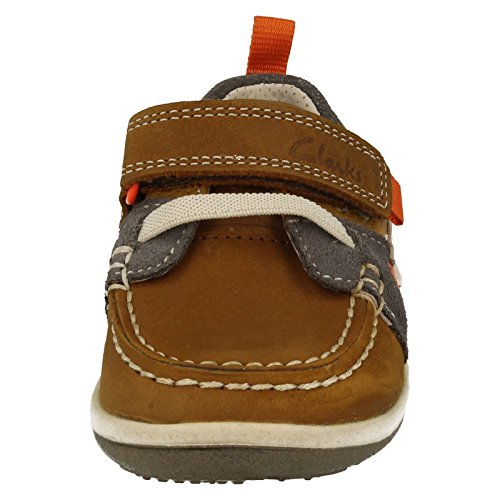 Clarks Softly Boat Fst Boys First Casual Boat Shoes 4 F Tan