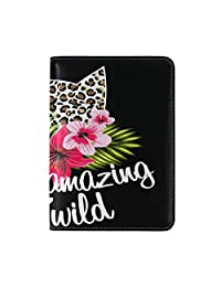 LORVIES Leopard Print With Flowers Leather Passport Holder Cover Case for Travel One Pocket