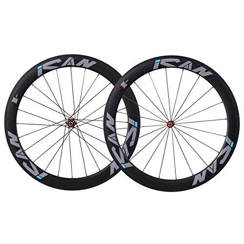 56 Carbon (ICAN 56mm Carbon Clincher Tubeless Ready Racing Wheelset 25mm Wide Novatec Hub Sapim Spokes 20/24 Holes)