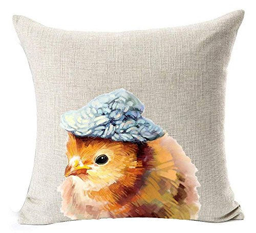 Ashasds Nordic Simple Watercolor Painting Animal Funny Adorable Yellow Little Chick Wear Hat Throw Pillow Covers For Home Indoor Friendly Comfortable Cushion Standard Size 26X26 In