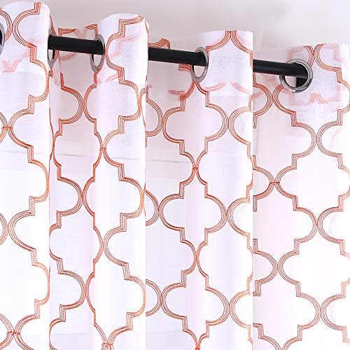 Orange And White Curtains (KEQIAOSUOCAI Living Coral Moroccan Embroidered White Sheer Window Curtains for Bedroom Faux Linen 2 Panels 52 x 95 Inch Living)