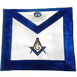Masonic Master Mason Royal Blue Chenille Fabric Borders Apron For Freemasons Regalia