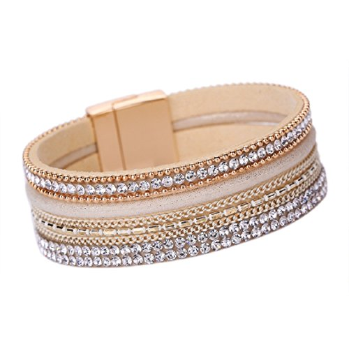 Ikevan Women Bohemian Bracelet Woven Braided Handmade Wrap Cuff Magnetic Clasp (Gold)