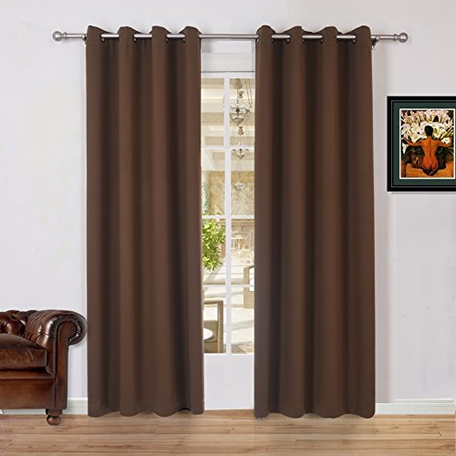 Lullabi Solid Thermal Blackout Window Curtain Drapery, Grommet, 84-inch Length by 54-inch Width, Coffee Brown, (Set of 2 Panels)