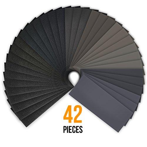 42 Pcs 120 to 3000 Grit Dry / - Wood Finishing Sandpaper