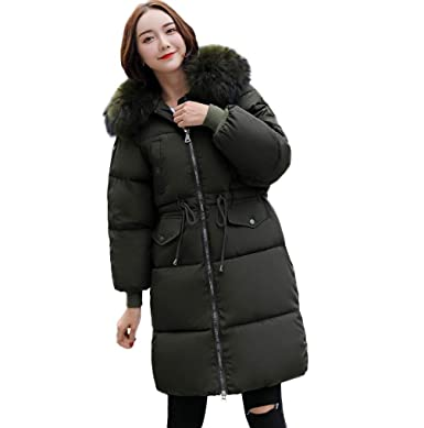 TUDUZ New Women s Quilted Winter Long Down Coat Ladies Cotton Padded Parka  Puffer Fur Collar Hooded ab2296c7fa