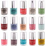 DeBelle Nail Polish Combo set of 15 (Glitter, Teal Green, Coral Orange, Nude, Pastel Green, Maroon, Purple, Peach, Pink, Mint Blue, Baby Pink, Mauve, Turquoise Blue, Red, Yellow)