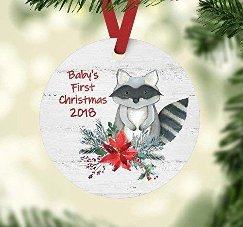 Baby's First Christmas Ornament - Woodland Animals Theme Baby Shower Present - Raccoon Gift Tag