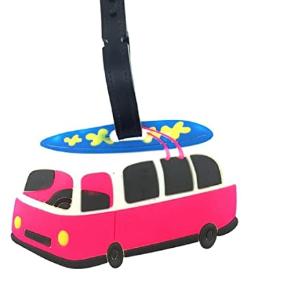 321766c11274 Cute Silicone Characters/Animals/Pirate  Ship/London/Paris/Holland/Bus/Airplane Luggage Tags/ID for Travel and  School (Surfing Bus)