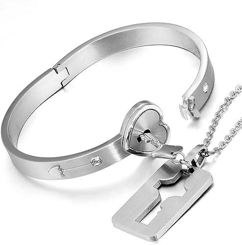 Flongo Collier Bracelet pour Femme Homme Amiti/é Couples Amoureux Collier Pendentif Cl/é Gourmette Serrure en Forme Coeur Couleur Argent Dor/é Noir Fantaisie Cadeaux Saint Valentin Mariage