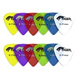 Tiger Gel Guitar Picks - Pack of 12 Guitar Plectrums Light-Heavy (0.58 - 0.81mm)