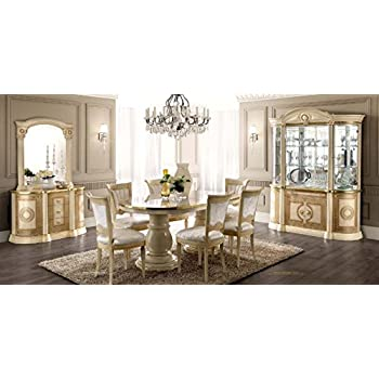 ESF Aida High Gloss Ivory Gold Finish Dining Room Set 8 Pcs Made In Italy By