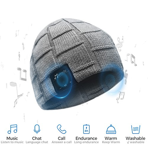 Bluetooth Beanie Hat, BCELIFE Wireless 4.0 Hands-Free Knit Music Cap with HD Stereo Speaker Headphone Mic Rechargeable USB for Winter Fitness Outdoor Sports (Gray)