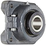 "Sealmaster RFB 108C Heavy Duty Flange Unit, 4 Bolt, Regreasable, Contact Seals, Double Concentric Clamp Collars, Cast Iron Housing, 1-1/2"" Bore, 5-3/8"" Overall Length, 4-1/8"" Bolt Hole Spacing Width, 1-3/16"" Flange Height"