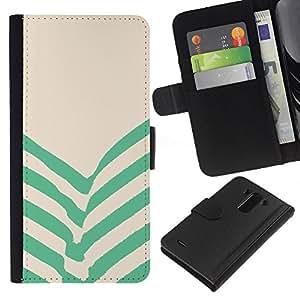 WINCASE Cuadro Funda Voltear Cuero Ranura Tarjetas TPU Carcasas Protectora Cover Case Para LG G3 - verdes rayas de color beige líneas
