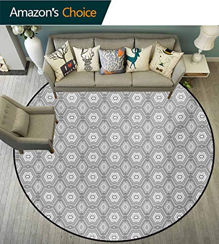 RUGSMAT Grey and White Modern Washable Round Bath Mat,Abstract Pattern with Lots of Angular Elements A Kaleidoscope of Forms Non-Slip Bathroom Soft Floor Mat Home Decor,Round-71 Inch