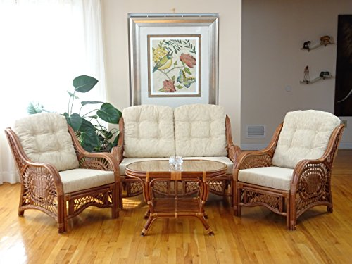 SunBear Furniture Malibu Lounge Set of 2 Natural ECO Rattan Wicker Chairs, Loveseat with Cream Cushion and Coffee Table w/Glass Handmade, -