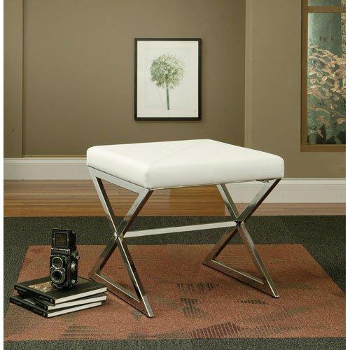 Coaster Upholstered Ottoman Metal White