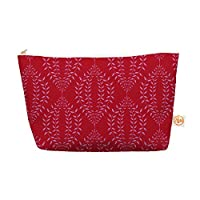 "Kess InHouse Everything Bag, Tapered Pouch, Anneline Sophia ""Laurel Leaf Red"" Maroon Floral, 8.5 x 4 Inches (AS1011DEP03)"